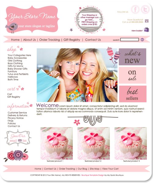 Blossom pre made OOAK boutique website template
