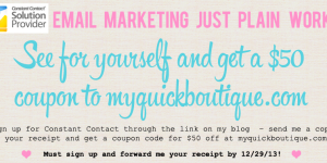 Constant Contact Email Marketing and $50 off at MyQuickBoutique.com